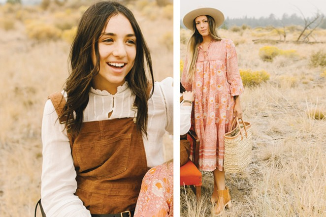 (Left) Outside In  Willa Top by Faherty, $158  Overalls –Karuna Cord Wide Leg Overall by Toad&Co., $120  /  Bronwen Glasswrap Bracelet by Bronwen, $98  (Right)  Dutch + Bow 'Colorado Winter' Handmade Wool Hat by Hampui Hats, $375  Peach-Floral Hand Blockprinted Dress by Matta NY, $289  Shearling Slip-On Bootie by Swedish Hasbeens, $420  /  Bronwen Leather Cuff, Bronwen, $72 - DREW CECCHINI
