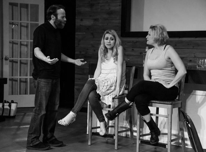 Max (Robert Marquez) confronts sisters Sheila and Devon (Catherine Christie and Skye Stafford). - CAROL STERNKOPF