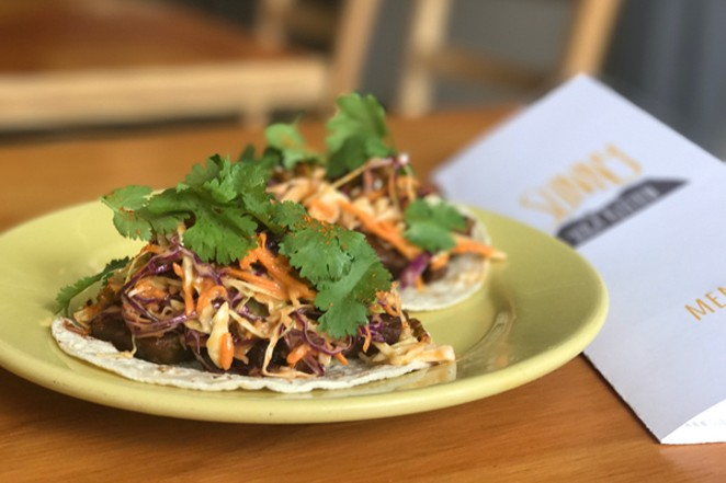 Korean style beef tacos with spicy slaw - LISA SIPE