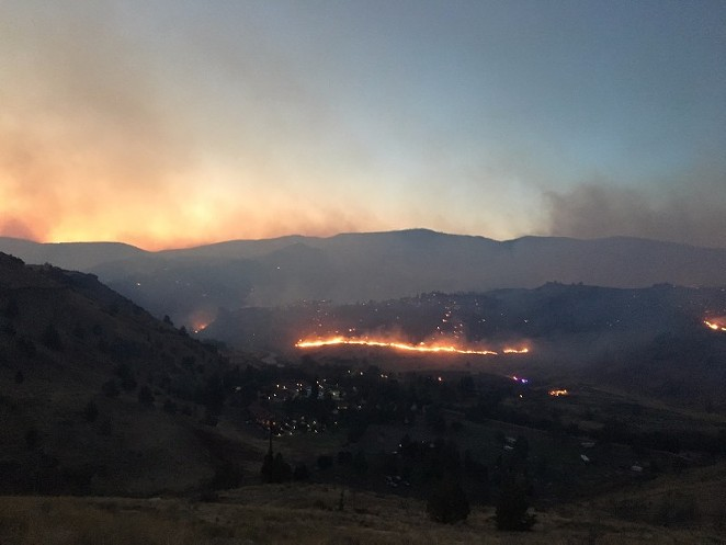The Nena Fire in Warm Springs grew to about 46,000 acres Thursday. - OREGON STATE FIRE MARSHAL
