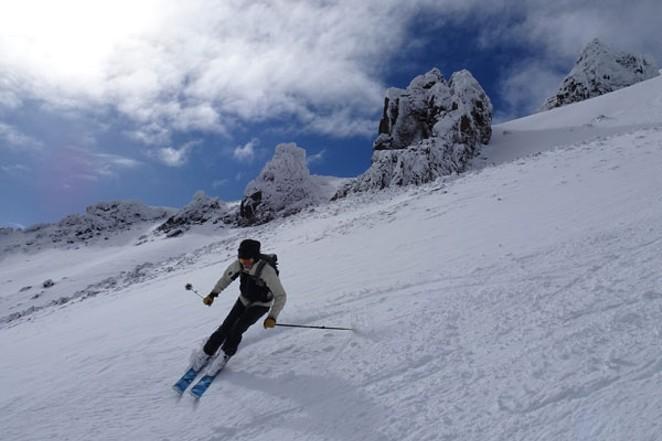 Reese Shepard skiing the Pinnacles at Mt. Bachelor on Saturday Sept. 23. Photography by Rex Shepard, @ rexshepard on instagram. - REX SHEPARD