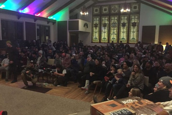 An enraptured audience listens to the Two Twisted Sisters, previously held at the Old Stone Church. - HOWARD SCHOR