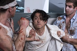 "Mayhem"" follows Steven Yeun, Glenn from ""The Walking Dead."" - RLJE FILMS"