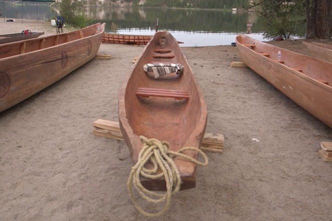 Some of the dugout canoes that made the historical journey to Kettle Falls. - C/O COALITION FOR THE DESCHUTES