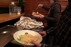 Spaghetti wrestlers can get their fill at Tin Pan Theater. - LISA SIPE