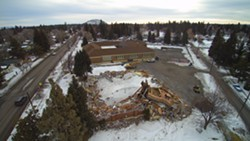 Crews demolished the Kenwood School gym building on Bend's west side the same day the collapse was discovered, Jan 12, 2017. This photo shows the progress on the demolition as of the week of Feb. 1, 2017 - KYLE LOW