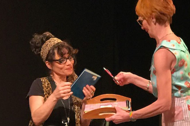 """Viola (Jennifer Collins, seated) and Rita (Mary Kilpatrick) rehearse for """"The Lost Virginity Tour."""" - PHOTO COURTESY 2ND STREET THEATER"""