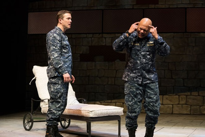 Othello, at right, played by Chris Butler, reacts to the cunning deceit by Iago, played by Danforth Comins. - JENNY GRAHAM