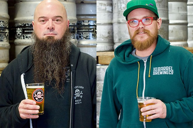 Boneyard's Mark Henion, left, and 10 Barrel Brewing's Bobby Jackson, right. - CHRIS MILLER