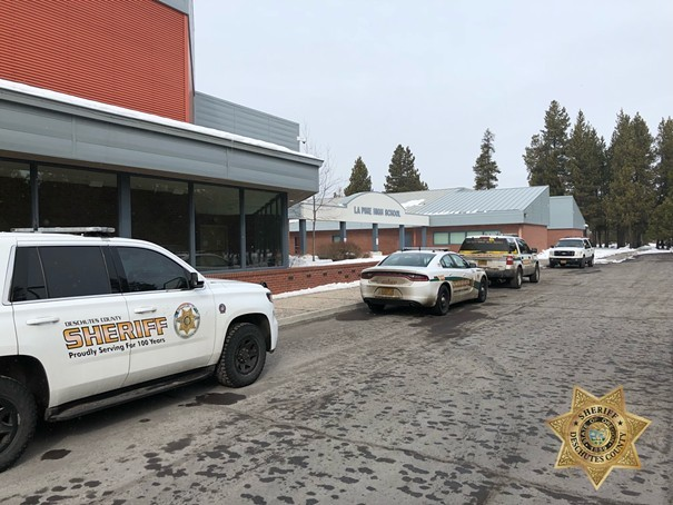 Extra officers arrived on scene at La Pine High School this February as a precaution, following the alleged threat. - DESCHUTES COUNTY SHERIFF'S OFFICE