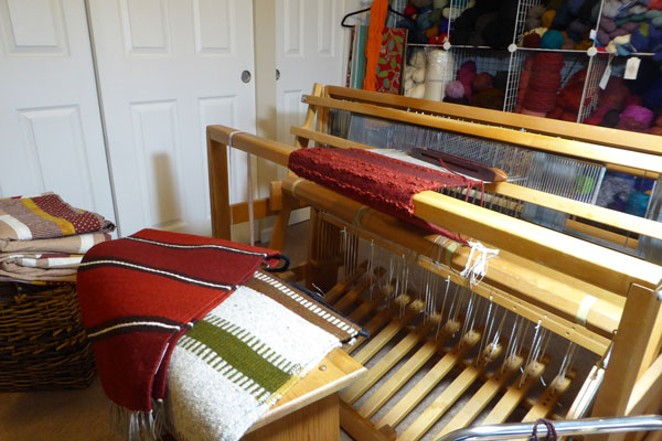 Shown here are some works, hot off the loom, by fiber artist Mary Wonser. - ELIZABETH WARNIMONT