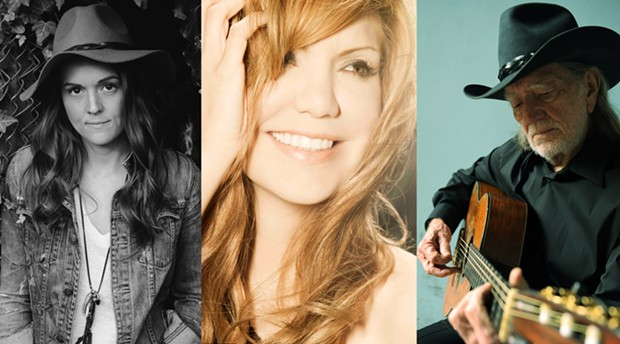 BRANDI CARLILE (PHOTO: DAVID MCCLISTER), ALISON KRAUSS (PHOTO: PRESS HERE NOW), WILLIE NELSON (PHOTO: DAVID MCCLISTER)