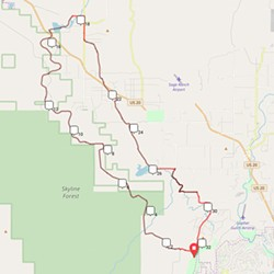 Suggested route: A 33-mile intermediate-level loop with 1200 feet elevation gain that includes Shevlin Park, Sizemore Road and Tumalo Falls. - COURTESY DIRTYFREEHUB.COM
