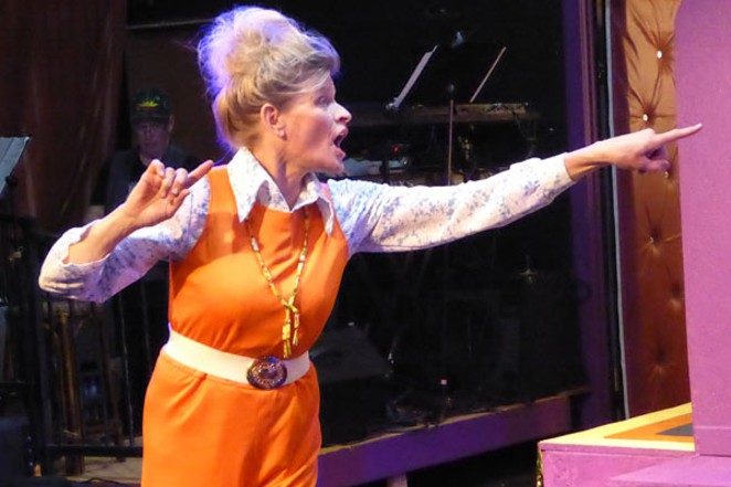 """Above, Rachel Thompson as Shirley in """"Disaster! The Musical."""" - ELIZABETH WARNIMONT"""