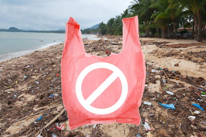 There's not much surf, but the discarded plastic sure is up on this blighted beach in Thailand. - CANSTOCKPHOTO.COM