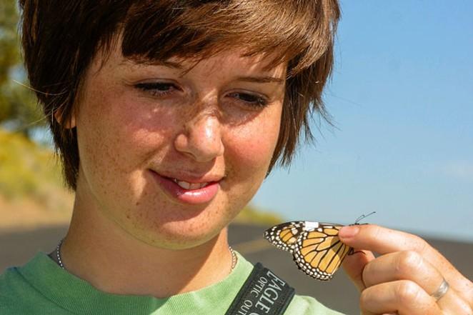 Jim Anderson's daughter Miriam with a tagged monarch. - SUE ANDERSON
