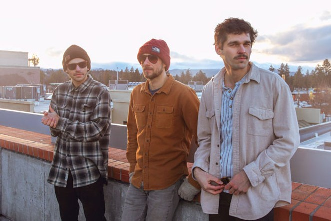 Join Bony Chanterelle members (from left) Devrett Gupta, Jake Satathite and Chris Fraser at Spoken Moto on 5/25 as they release their debut album. - SUBMITTED