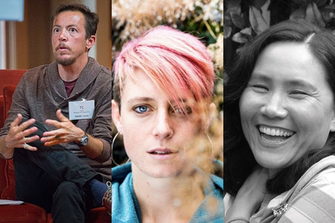 From left, MFA faculty TC Tolbert, Laura Winberry, Jennifer Tseng. - SUBMITTED