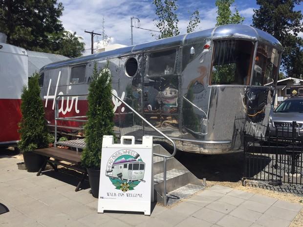 This converted 1946 Spartan Manor trailer has been reborn as a hip hair salon. - CAITLIN RICHMOND
