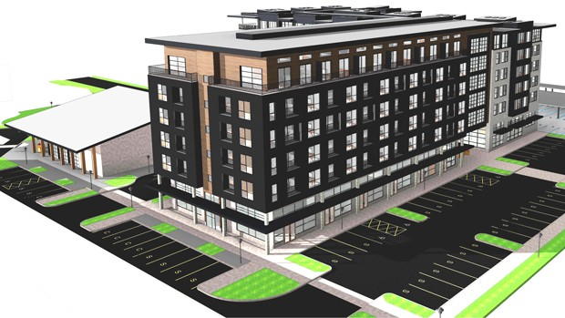 This is an artists rendering for the proposed residential/commercial building. - BLRB ARCHITECTS