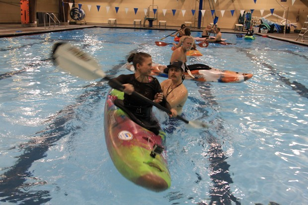 KM Collins trying for a kayak roll at Juniper Swim and Fitness. More often she perfects her underwater ugly cry wet exit face. Kind of like resting bi*ch face but with equal parts panic, terror and stoic disappointment. - SUBMITTED