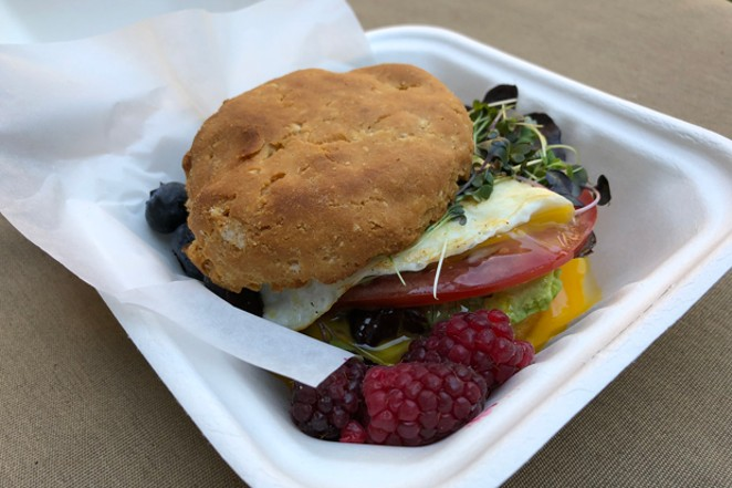 The gluten-free breakfast sando at Plantd is more than a tasty egg biscuit; it's packed with healthy fats, a rich source of choline, and lycopene. - LISA SIPE