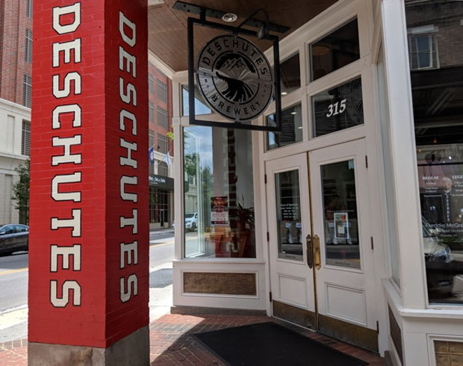 Deschutes Brewery's Roanoke, Va., tasting room boasts a host of branded merchandise, the mainstay beers that made it famous—and also, batches of Roanoke-only brew concoctions. - CHRISTIAN TREJBAL