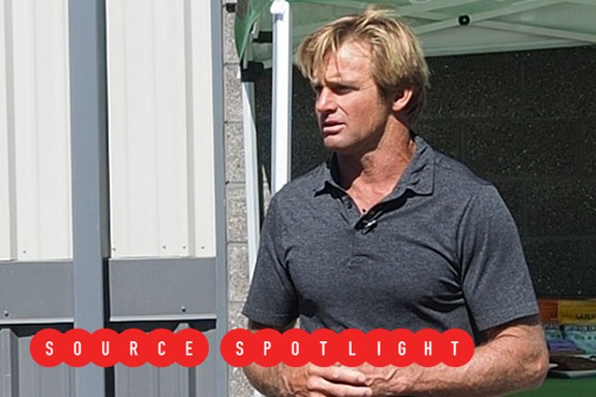 Laird Hamilton addresses the crowd during the opening ceremony at the Laird Superfood production facility in Sisters. - CHRIS MILLER