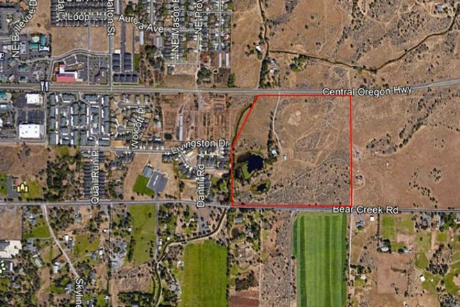 A map of the proposed affordable housing area outside the current UGB in Bend. - CITY OF BEND