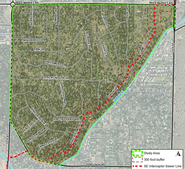 A map of the Septic to Sewer project in Bend. - CITY OF BEND