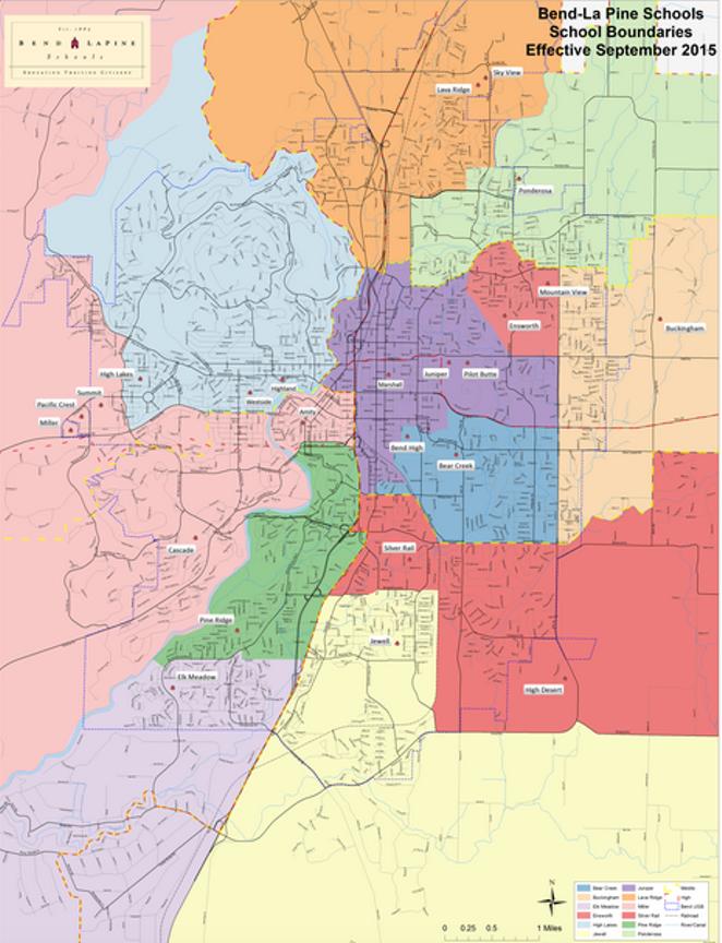 Current school boundaries, as of 2015. - BEND-LA PINE SCHOOLS