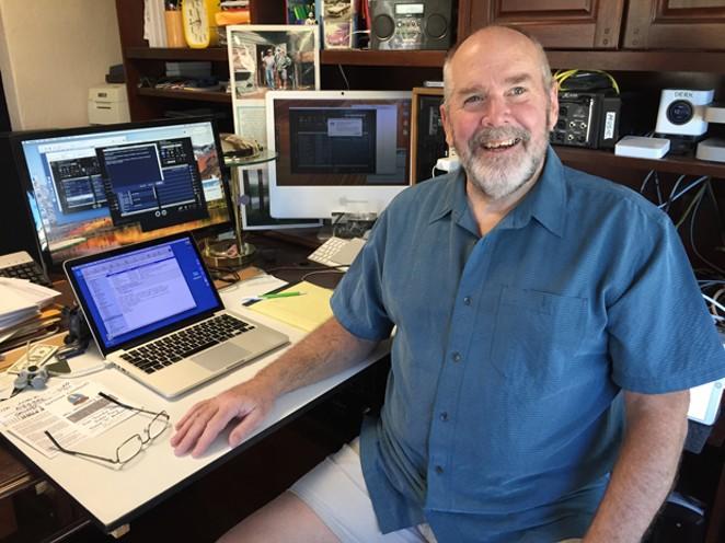 "Self-described ""schizoclectic"" radio programmer Jeff Cotton at his home studio. - LAZLO BLEEN"