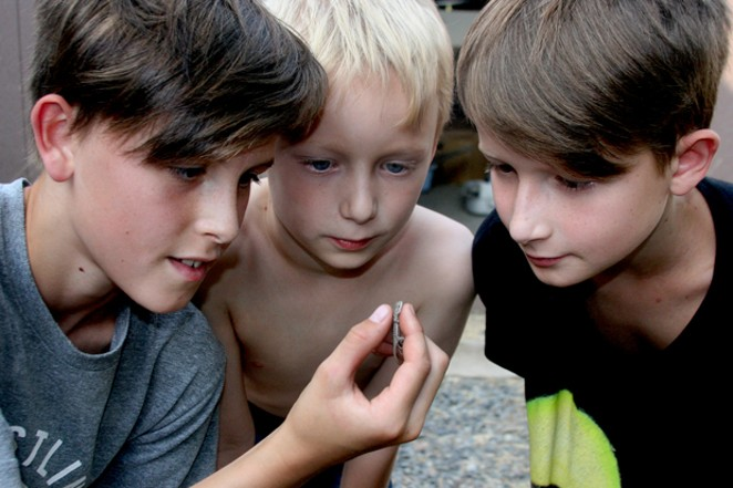 Daxon Anderson (holding lizard), Truman Anderson and Graham Anderson examine the lizard, captured by Daxon. - JIM ANDERSON