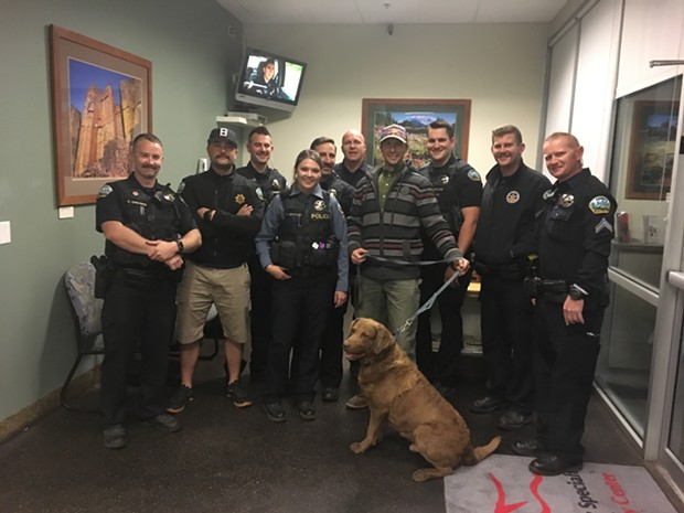 """Matthew Torney and his dog """"Kido"""" were reunited Oct. 1. - BEND POLICE DEPARTMENT"""