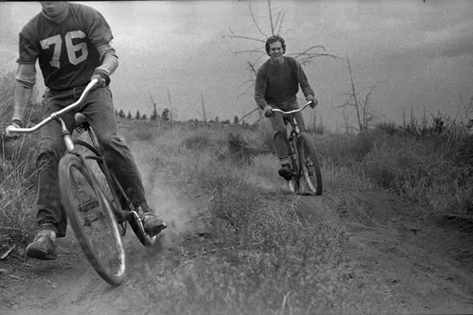 Gary Bonacker, rear, riding old school. - DON IPOCK
