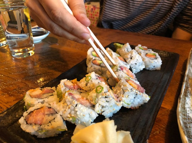 The spicy yellowtail roll delivers a kick for spice lovers. - LISA SIPE