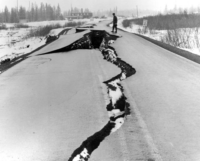 A scene from the Alaska earthquake of 1964, showing roads with damage not unlike some from this week's quake. - US ARMY
