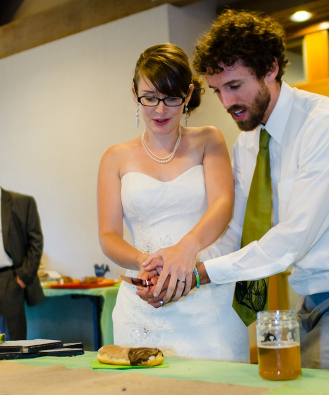 """Yes, you can even do the classic """"cake cutting"""" when serving donuts at your wedding. - RUSSELL CHANDLER"""