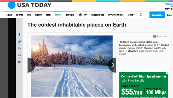 A look at the listing for Bend from Jan. 10, 2019. - USA TODAY