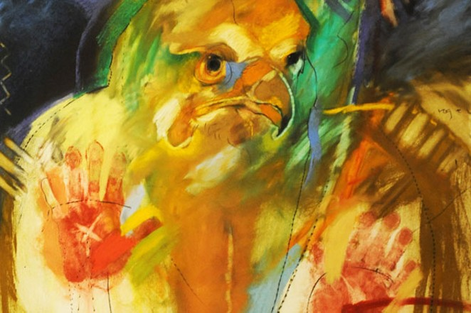 "Rick Bartow's piece, ""For Roger,"" was inspired by a fellow Vietnam vet. - HIGH DESERT MUSEUM"