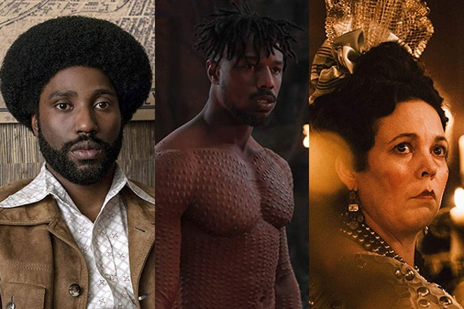 """From left, John David Washington in """"BlacKkKlansmen,"""" Michael B. Jordan in """"Black Panther"""" and Olivia Colman in """"The Favourite."""" - SUBMITTED"""
