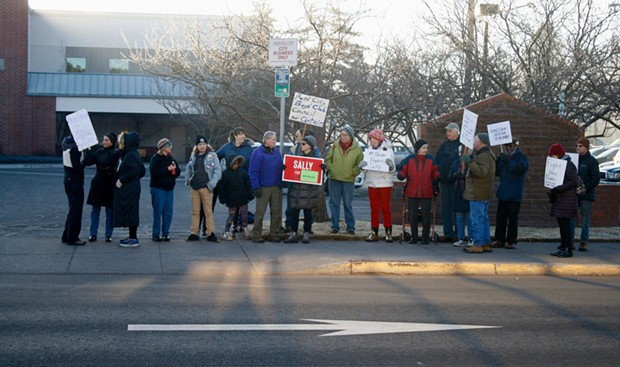 About 30 people showed up at 8am on Jan. 30 to protest the appointment of Chris Piper to the City Council. - CHRIS MILLER