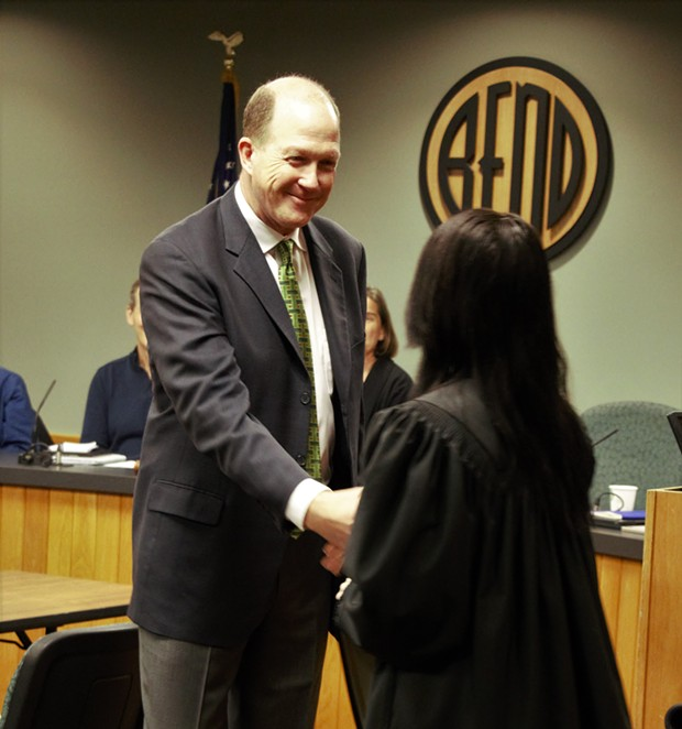 Chris Piper being sworn in to the Bend City Council on Jan. 30. - ANNE AURAND