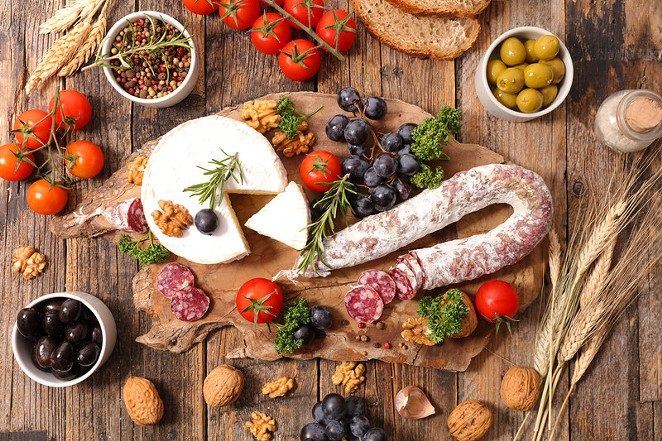 An example of  charcuterie and cheese. - CANSTOCKPHOTO.COM