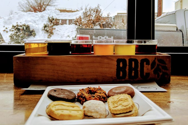 Cookie and beer pairing at Bend Brewing Company. - HEIDI HOWARD