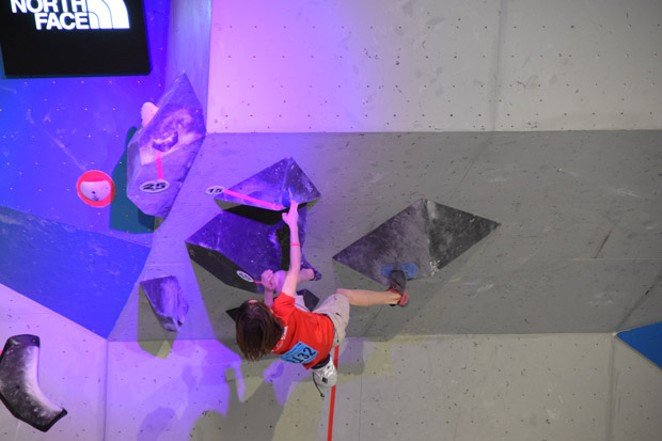 Nathaniel Perullo climbs during a recent competition. - YON PERULLO