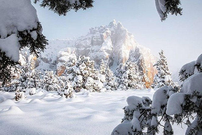 Who ordered the snow? Great shot at Smith Rock from @art_of_adventures! - SUBMITTED