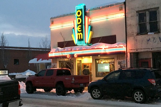 The new, brightly lit Odem Theater sign features the letters from the original, 1930s-era sign. - SUBMITTED