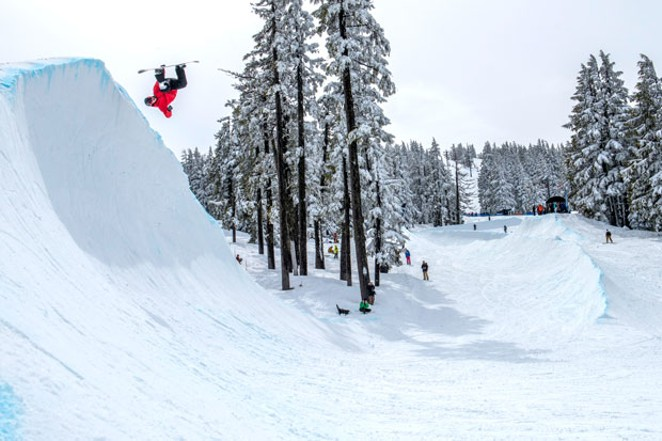 Cowabunga! The surf's up at Mt. Bachelor for the Gerry Lopez Big Wave Challenge. - COURTESY MT. BACHELOR