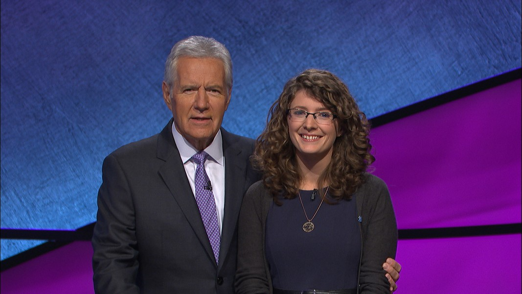 Rachel Lindgren and Alex Trebek with their best game faces. - SUBMITTED